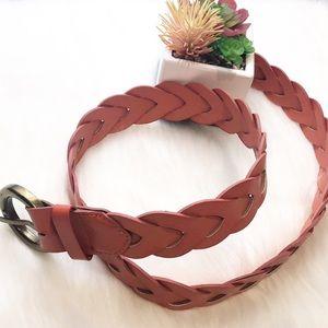 Accessories - Super Cute Vegan Leather Summer Coral Braided Belt